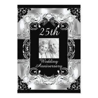 """Aniversario de boda floral de la foto de plata invitación 5"""" x 7"""""""