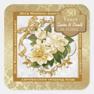 Aniversario de boda floral del oro 50 o pegatinas cuadradas personalizadas