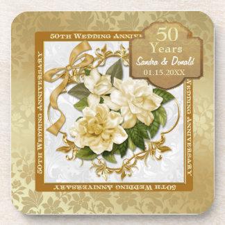 Aniversario de boda floral del oro 50.o posavasos
