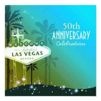 """Aniversario de boda glamoroso de Las Vegas 50.o Invitación 5.25"""" X 5.25"""""""