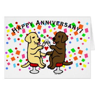 Aniversario de boda Labradors Tarjeta De Felicitación