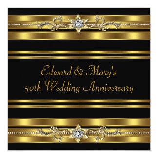 Aniversario de boda negro del oro 50.o invitaciones personales