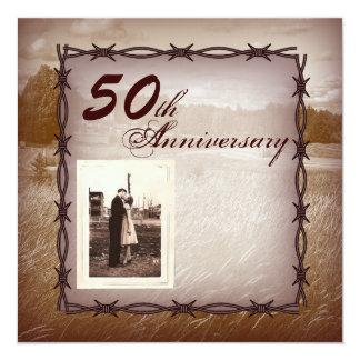 """aniversario de boda occidental del alambre de púas invitación 5.25"""" x 5.25"""""""