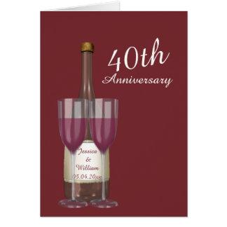 Aniversario de boda personalizado del rubí 40.o tarjeta de felicitación
