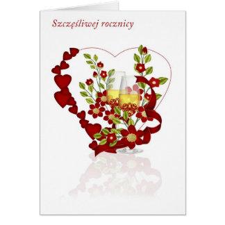 Aniversario de boda polaco con las flores de tarjeta de felicitación