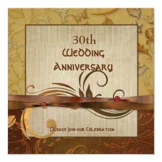 Aniversario de boda pulido del oro del otoño invitación personalizada