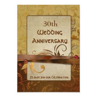 Aniversario de boda pulido del oro del otoño invitaciones personalizada
