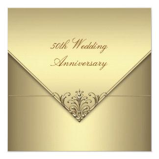 Aniversario de boda puro simple elegante del oro invitaciones personales