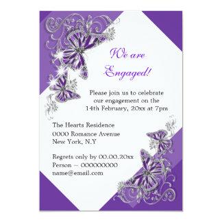 Aniversario de boda púrpura del compromiso de la invitación 12,7 x 17,8 cm