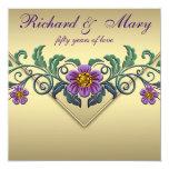 Aniversario de boda púrpura del oro 50.o de la invitacion personalizada