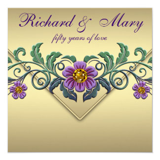 """Aniversario de boda púrpura del oro 50.o de la invitación 5.25"""" x 5.25"""""""