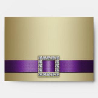Aniversario de boda púrpura del oro 50.o de la sobre