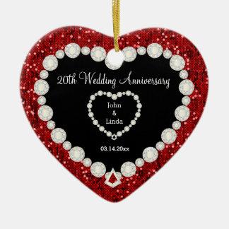 Aniversario de boda rojo del brillo DIY Adorno Navideño De Cerámica En Forma De Corazón