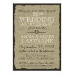 Aniversario de boda rústico de la arpillera anuncios personalizados