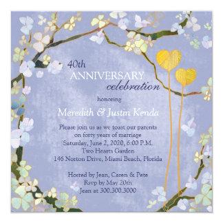 """Aniversario de boda rústico de los azules claros invitación 5.25"""" x 5.25"""""""