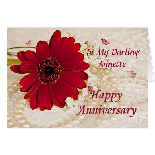 Aniversario de boda, una flor de la margarita tarjeta de felicitación