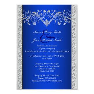"""Aniversario de bodas de plata azul floral invitación 5"""" x 7"""""""