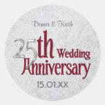 Aniversario de bodas de plata clásico pegatinas redondas