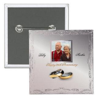 Aniversario de bodas de plata pin cuadrada 5 cm