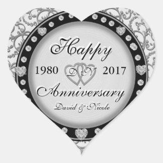Aniversario de encargo del Ornamental del Pegatina En Forma De Corazón