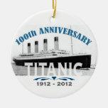 Aniversario de hundimiento titánico de 100 años ornamento para arbol de navidad