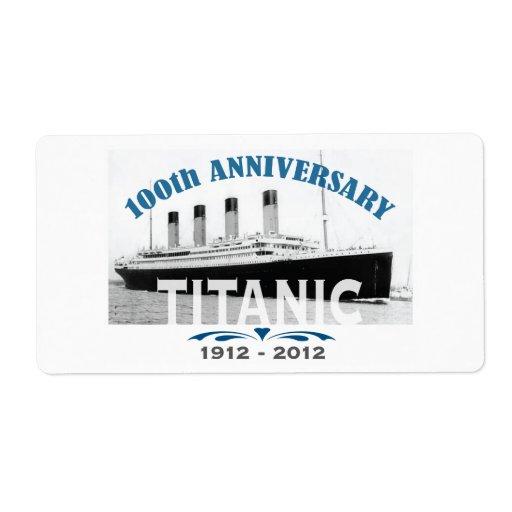 Aniversario de hundimiento titánico de 100 años etiquetas de envío