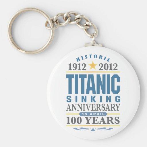 Aniversario de hundimiento titánico de 100 años llavero redondo tipo pin