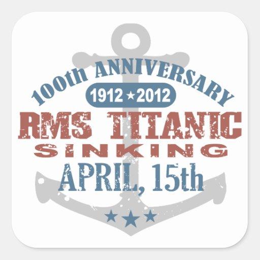 Aniversario de hundimiento titánico de 100 años calcomania cuadradas