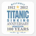Aniversario de hundimiento titánico de 100 años calcomanías cuadradas personalizadas