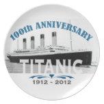 Aniversario de hundimiento titánico de 100 años plato de cena