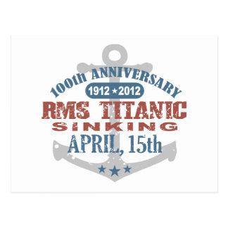 Aniversario de hundimiento titánico de 100 años postal