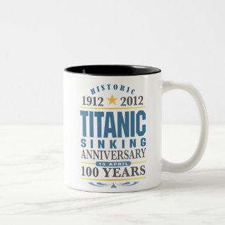 Aniversario de hundimiento titánico de 100 años taza dos tonos