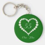 Aniversario de la esmeralda del diamante del llavero