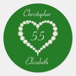 Aniversario de la esmeralda del diamante del pegatina redonda