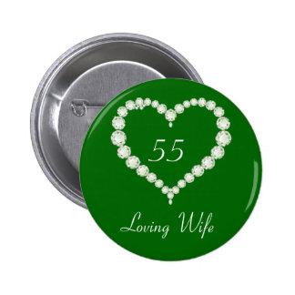 Aniversario de la esmeralda del diamante del pin redondo de 2 pulgadas