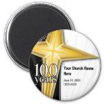 Aniversario de la iglesia de 100 años imán redondo 5 cm