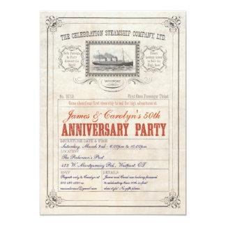 Aniversario de la invitación del boleto de la invitación 12,7 x 17,8 cm