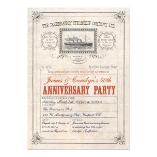 Aniversario de la invitación del boleto de la trav