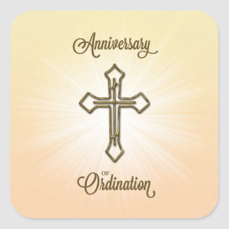 Aniversario de la ordenación, cruz en Starburst Pegatina Cuadrada