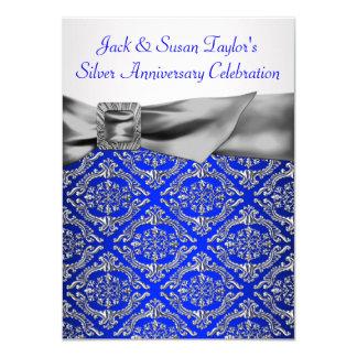 Aniversario de la plata del damasco de la plata invitación 11,4 x 15,8 cm