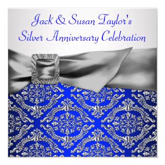 """Aniversario de la plata del damasco de la plata invitación 5.25"""" x 5.25"""""""