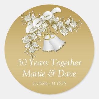 Aniversario de las flores de Belces de boda del Pegatina Redonda