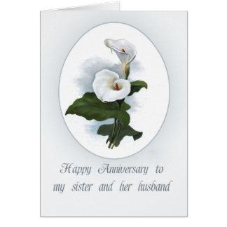 Aniversario de Lilly de la cala para la hermana Tarjeta De Felicitación