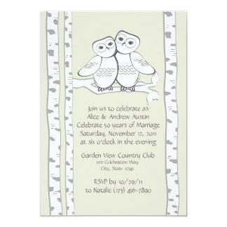 """Aniversario de los búhos de la nieve invitación 5"""" x 7"""""""