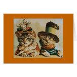 Aniversario de los pares del gato del vintage tarjetas