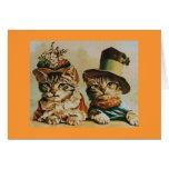 Aniversario de los pares del gato del vintage tarjetón
