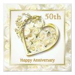 Aniversario de los rosas blancos y de boda del invitación 13,3 cm x 13,3cm