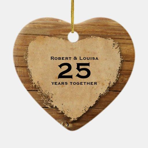Aniversario de madera del poema del amor del coraz adornos de navidad