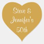 Aniversario de oro 50 del boda de los pegatinas pegatinas corazon