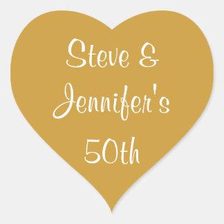 Aniversario de oro 50 del boda de los pegatinas pegatina en forma de corazón